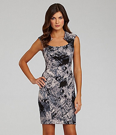 Vince Camuto Abstract-Print Ponte Dress