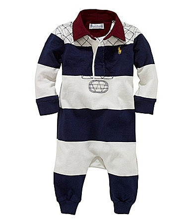 Ralph Lauren Childrenswear Newborn Rugby Jersey Coverall