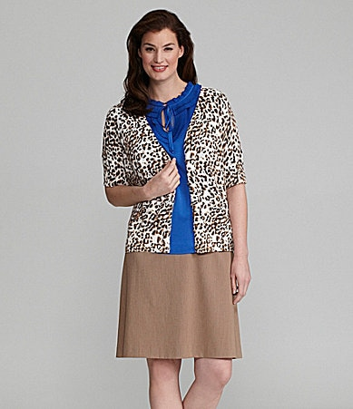 Alex Marie Woman Fernanda Cheetah-Print Cardigan, Olma Ruffled Charmeuse Blouse & Suri Heathered Skirt