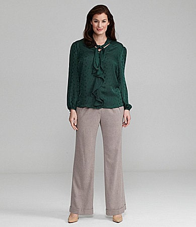 Alex Marie Woman Bristol Ruffled Tie-Neck Blouse & Mariah Wide-Leg Pants