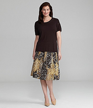 Alex Marie Woman Sugar Knit Top & Khloe Animal-Print Chiffon Skirt