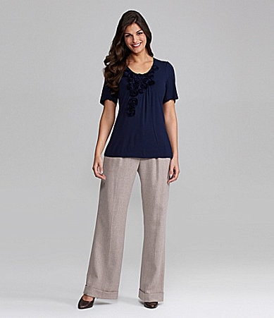Alex Marie Prim Rosette Knit Top & Mariah Wide-Leg Pants