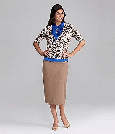 Alex Marie Fernanda Cheetah-Print Cardigan, Olma Ruffled Charmeuse Blouse & Suri Pencil Skirt