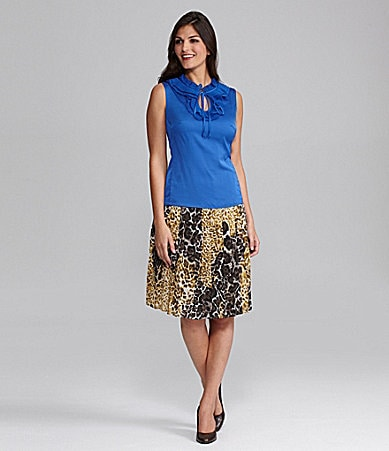Alex Marie Olma Ruffled Charmeuse Blouse & Khloe Animal-Print Chiffon Skirt