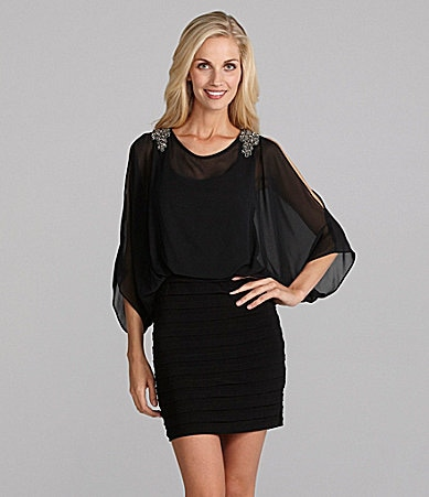 Xscape Chiffon Cold-Shoulder Dress