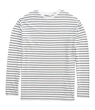 Roundtree & Yorke Long-Sleeve Striped Crewneck Tee