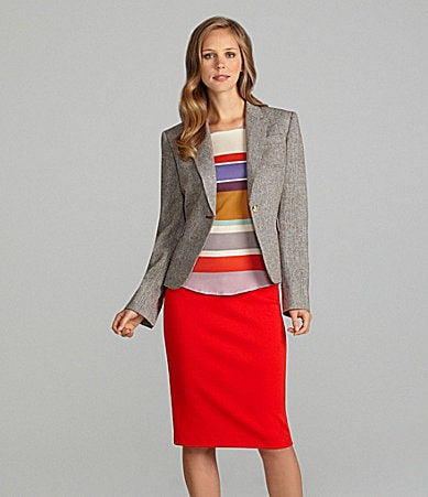Cremieux Granita Jacket, Nancy Long-Sleeve T-Shirt Style Blouse & Mindy Belted Pencil Skirt