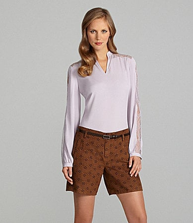 Cremieux Vena Blouse & Cordenna Faux-Leather Laser-Cut Shorts