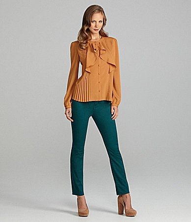 Cremieux Catherine Pleated Button-Front Blouse & Dara Glitter-Pop Colored Jeggings