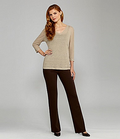 Nurture V-Neck Linen Sweater & Slim Leg Ponte Pants