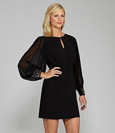 J.R. Nites Santos Pleated Long-Sleeve Dress