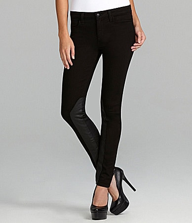 Joe�s Jeans Faux-Leather Panel Skinny Jeans
