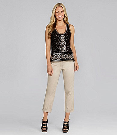 M.S.S.P. Sequin Tank & Cuffed Cropped Skinny Pants