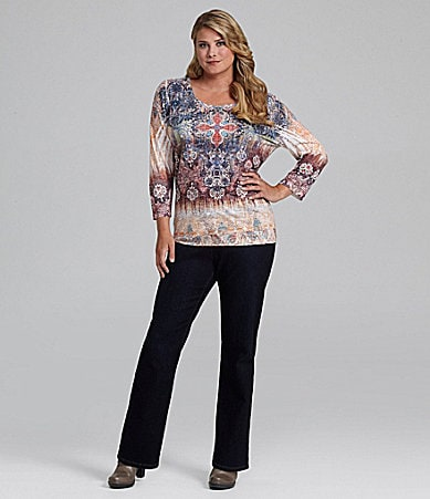 Reba Woman Sequin Sublimation Top & Straight-Leg Stretch Jeans