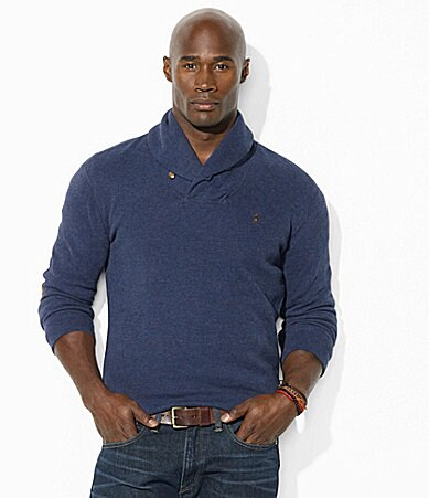 Polo Ralph Lauren Big & Tall French-Ribbed Shawl Collar Pullover Sweater