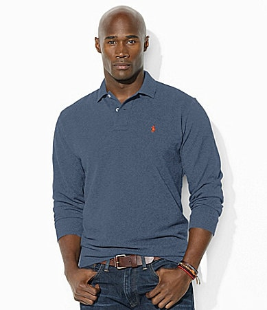 Polo Ralph Lauren Big & Tall Classic-Fit Long-Sleeved Cotton Mesh Polo Shirt