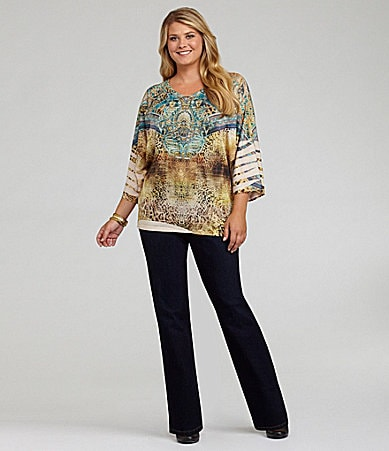 Reba Woman Animal Tribe Dolman Top & Pull-On Jeans