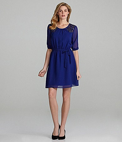 Cremieux Deedee Emebllished-Shoulder Dress