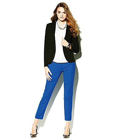 Vince Camuto Open-Front Blazer, Sleeveless Blouse & Skinny Ankle Pants