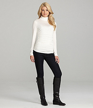 Cremieux Gia Turtleneck Knit Top & Dara Glitter-Belt Skinny Jeans