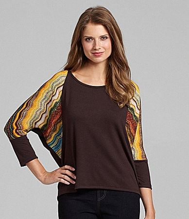 Westbound Petites Mix Media Dolman-Sleeve Top