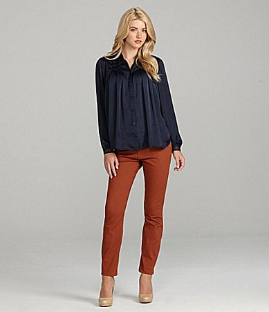 Cremieux Azula Long-Sleeve Pleated Blouse & Dara Glitter-Belt Skinny Jeans
