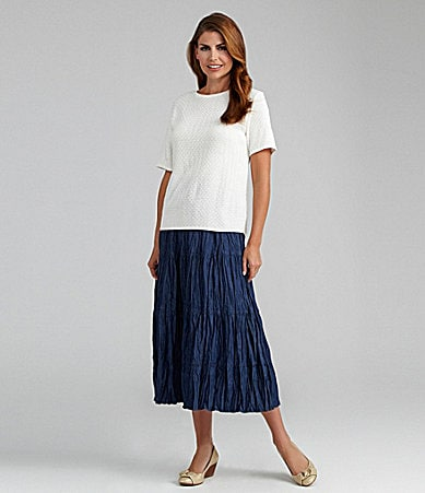Samantha Grey Solid Shell Sweater & Tiered Skirt