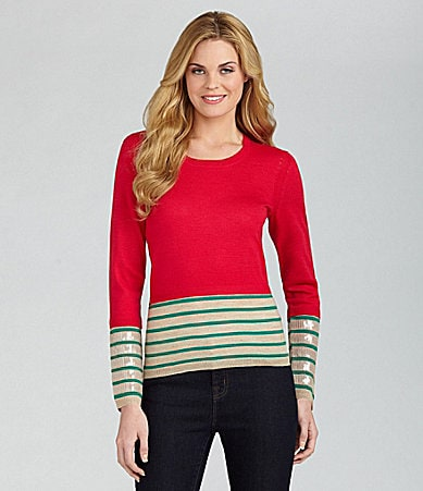 Cremieux Addie Striped Sequin-Cuff Sweater