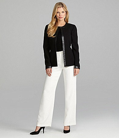 Preston & York Brittany Faux-Leather Trim Jacket, Sadie Sweater Knit Top & Preston Pants