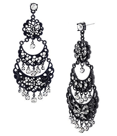 Betsey Johnson Iconic Jet Filigree Chandelier Earrings