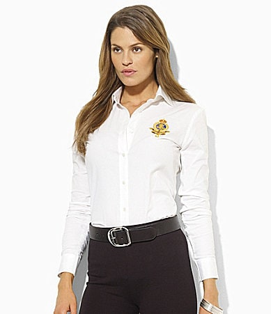 Lauren Ralph Lauren Embroidered Crest Poplin Shirt