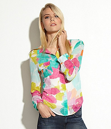 MM Couture by Miss Me Floral Print Utility Blouse