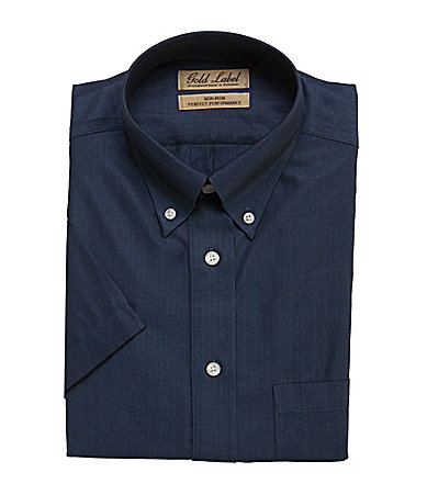 Roundtree & Yorke Gold Label Short-Sleeve Solid Herringbone Button-Down Sportshirt