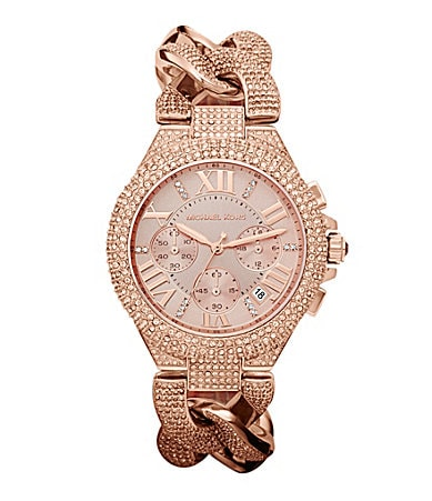 Michael Kors Reese Crystal Encrusted Chronograph Watch