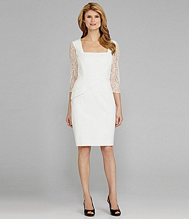 Antonio Melani Lowan Lace-Sleeve Peplum Dress