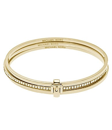 Michael Kors Crystal Pave Buckle Bangle Set
