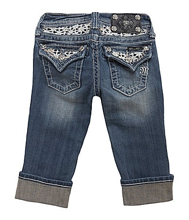 Miss Me Girls 7-16 Daisy-Lace-Pocket Denim Capris