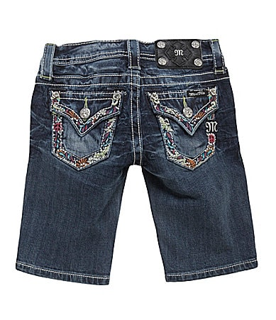Miss Me Girls 7-16 Embroidered-Trim Pocketed Bermuda Shorts