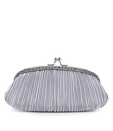 Kate Landry Social Pleated Rhinestone Frame Clutch