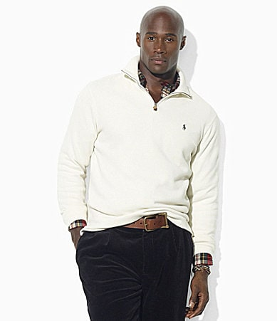 Polo Ralph Lauren Long-Sleeved Cotton Half-Zip Mockneck Sweater