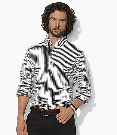 Polo Ralph Lauren Custom-Fit Long-Sleeved Striped Cotton Poplin Shirt