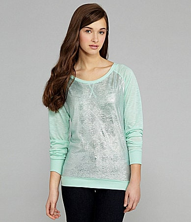 Copper Key Metallic Raglan-Sleeve Top