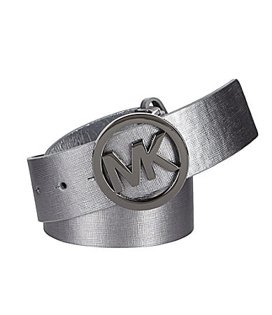 Michael Kors Saffiano Logo Buckle Belt