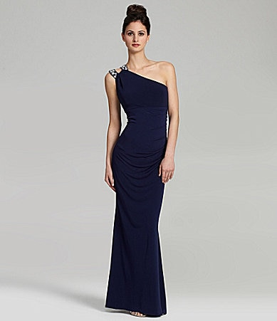 Hailey by Adrianna Papell One-Shoulder Jewel-Detail Gown