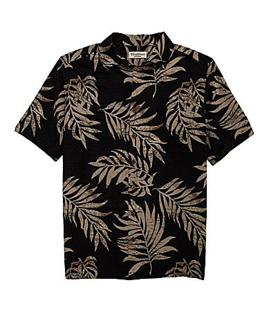 Caribbean Big & Tall Map Leaf Print Sportshirt