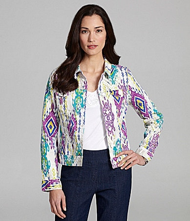 Jones New York Signature Woman Ikat-Print Denim Jacket