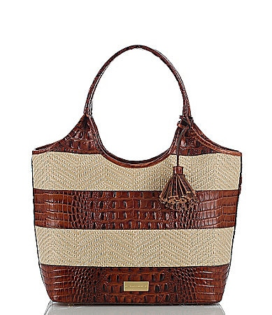 Brahmin Raffia Vineyard Collection Small Shopper Tote Bag