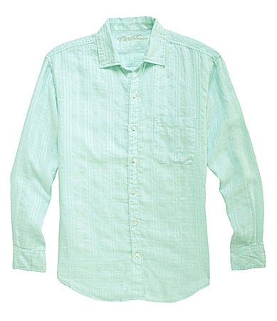 Caribbean Big & Tall Dobby Solid Linen Shirt