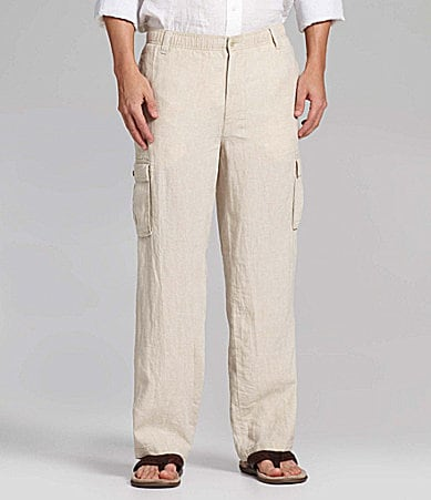 Caribbean Big & Tall Solid Linen Drawstring Cargo Pants