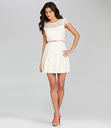 Gianni Bini Bella Cap-Sleeve Lace Dress
